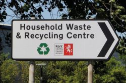 household waste and recycling centre sign for kent county council