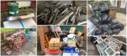 collage of different types of rubbish removal, trade waste and household waste