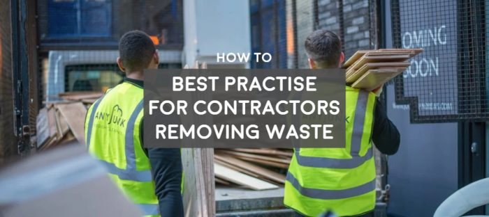 two contractors wearing high vis removing waste rubbish from a customer site best practise and regulation for contractors removing waste, waste carriers licence and how to dispose of waste, plumbers, electricians, builders, tradesmen