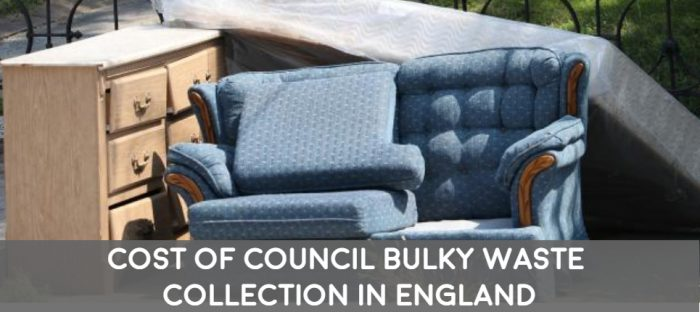 charges costs prices of council bulky waste collections across england listing most to least expensive and free services