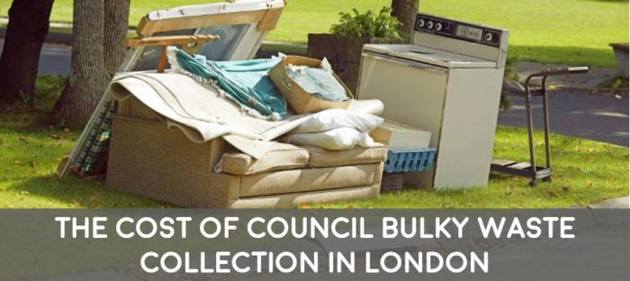 the cost of london council bulky waste collections for furniture and white goods disposal fridge mattress and sofa
