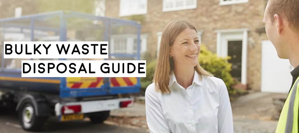 woman standing with tradesman next to tipper truck how to dispose of bulky waste for householders extensive guide and money saving tips