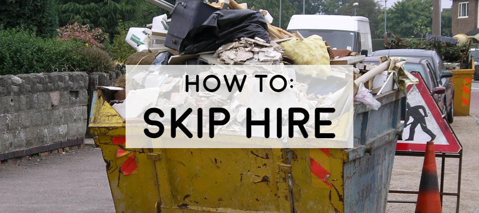 full guide on skip hire how much cost what to put in a skip picture of a skip on road with traffic cones around