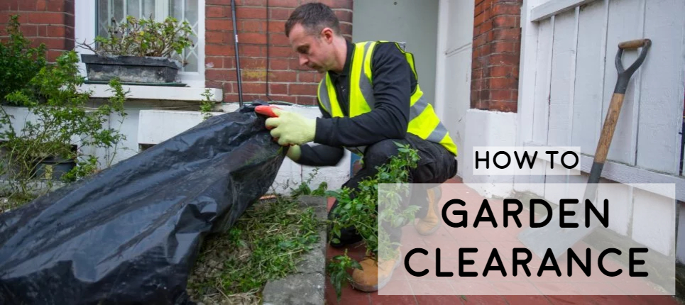 man in high vis clearing out garden waste, extensive and detailed guide on garden clearance