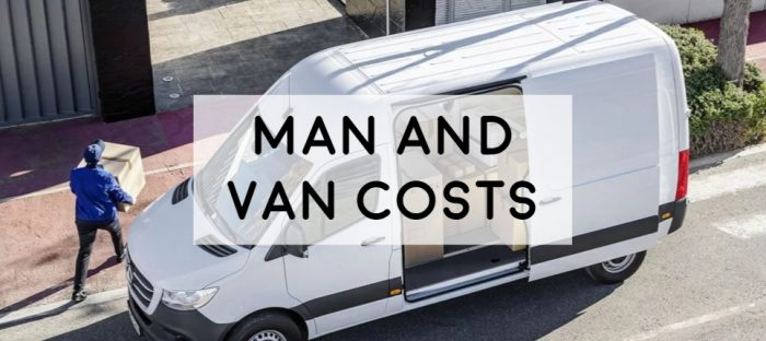 the costs of a man and van rubbish clearance transportation moving house image of white van and man carrying box full guide on prices of a mand and van and how to save money when using one